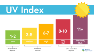 The UV Index is a scale used to determine the strength of the sun's UV rays.